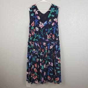Talbots Floral Shift Dress Size 20W V Neck a line